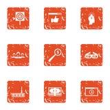 Cash target icons set, grunge style. Cash target icons set. Grunge set of 9 cash target vector icons for web isolated on white background Stock Photography