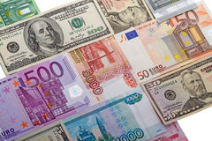 Cash three countries Stock Photo