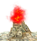 Cash Volcano with Burning Dollar Bills and Flames. Flames and smoke bursting out of a volcano made of burning cash American US dollar bills as illustration for Royalty Free Stock Image