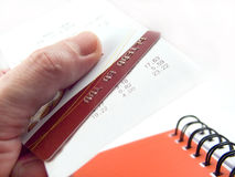 The cash voucher and credit card Stock Photo