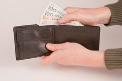 Cash in wallet Stock Image
