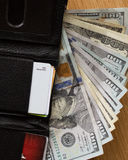 Cash wallet close up Stock Photos