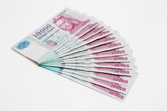 Cash on white background. Hungarian 10000 forint banknotes on white background Royalty Free Stock Photo