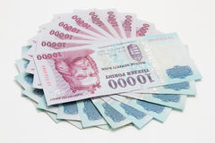Cash on white background. Hungarian 10000 forint banknotes on white background Stock Photos