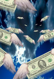 Cash with Wings. US Dollars in flight Stock Illustration