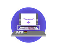 Cash withdrawal from an ATM. Five hundred euros Royalty Free Stock Photography