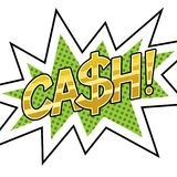 Cash word comic book pop art vector illustration. Cash word pop art retro vector illustration. Isolated image on white background. Comic book style imitation Royalty Free Stock Image
