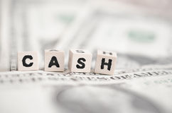 Cash. The word cash spelled out on some banknotes Stock Photos