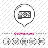 Cash Yen icon. Banking symbol. Eps10 Vector for Business and banking Royalty Free Stock Photos
