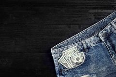 Cash in your jeans pocket. Still life. Royalty Free Stock Images