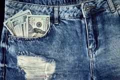 Cash in your jeans pocket. Still life. Royalty Free Stock Photos