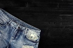 Cash in your jeans pocket. Still life. Stock Images