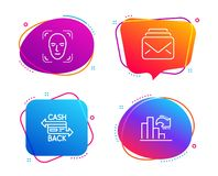 Cashback card, Face detection and Mail icons set. Decreasing graph sign. Vector. Cashback card, Face detection and Mail icons simple set. Decreasing graph sign royalty free illustration