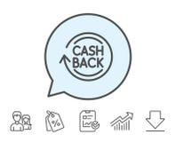 Cashback service line icon. Money transfer. Royalty Free Stock Photography