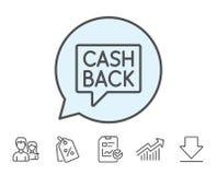Cashback service line icon. Money transfer. Stock Photos