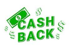 Cashback symbolsrengöringsduk på vit bakgrund stock illustrationer