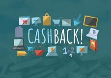Cashback text with drawings graphics Stock Photography