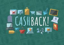 Cashback text with drawings graphics Stock Image