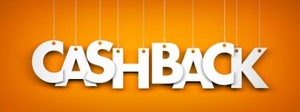 Cashback - word hanging on ropes Stock Photos