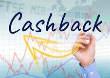 CASHBACK with yellow arrow write on the screen. Stock market background Stock Image