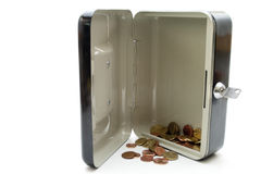 Cashbox openly with change. On white background Stock Images