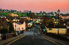 Cashel, Irlandia Widok z lotu ptaka miasteczko w wieczór Zdjęcie Stock