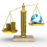 Cashes and the globe on scales Stock Images
