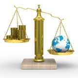 Cashes and the globe on scales Stock Image