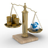 Cashes and the globe on weights Royalty Free Stock Photo