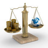 Cashes and the globe on weights Stock Photos
