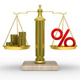 Cashes and percent on weights Royalty Free Stock Photo