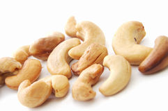Cashew. Some cashew on the white background Royalty Free Stock Photos