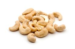 Cashew. A handful of cashew nuts, white background Stock Photography