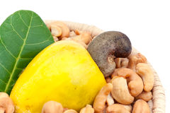 Cashew apple and nuts Royalty Free Stock Images