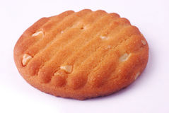 Cashew biscuit. Single cashew biscuit cookie - macro shot royalty free stock photos