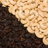 Cashew and black raisins Stock Photography