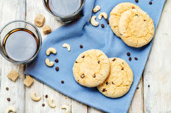 Cashew butter chocolate chips cookies Royalty Free Stock Photo