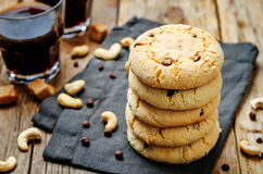 Cashew butter chocolate chips cookies Stock Image