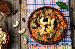 Cashew butter spinach and red bean stew Royalty Free Stock Image