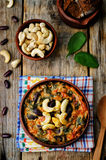 Cashew butter spinach and red bean stew Royalty Free Stock Photo