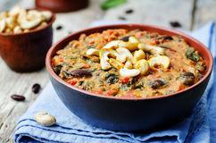 Cashew butter spinach and red bean stew Royalty Free Stock Photography