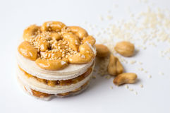 Cashew caramelised sweet snack with seeds Stock Image