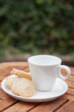 Cashew cookies with coffee cup Stock Image