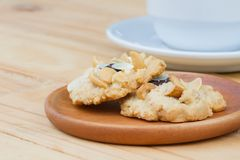 Cashew cookies on wooden desktop with copy space stock images