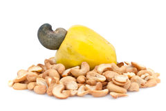 Cashew fruit and nuts. Isolated against a white background stock images