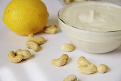 Cashew and lemon mayo Royalty Free Stock Photos