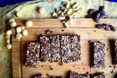 Cashew, Macadamia and Cacao fruit and nut bar royalty free stock photo