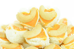 Cashew nut cookie Singapore cookies heart shape on white backgro Stock Photo