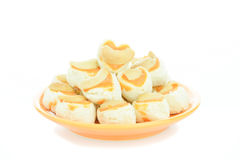 Cashew nut cookie Singapore cookies heart shape on white backgro Royalty Free Stock Image