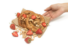 Cashew nut Danish pastry with fresh strawberry Royalty Free Stock Image